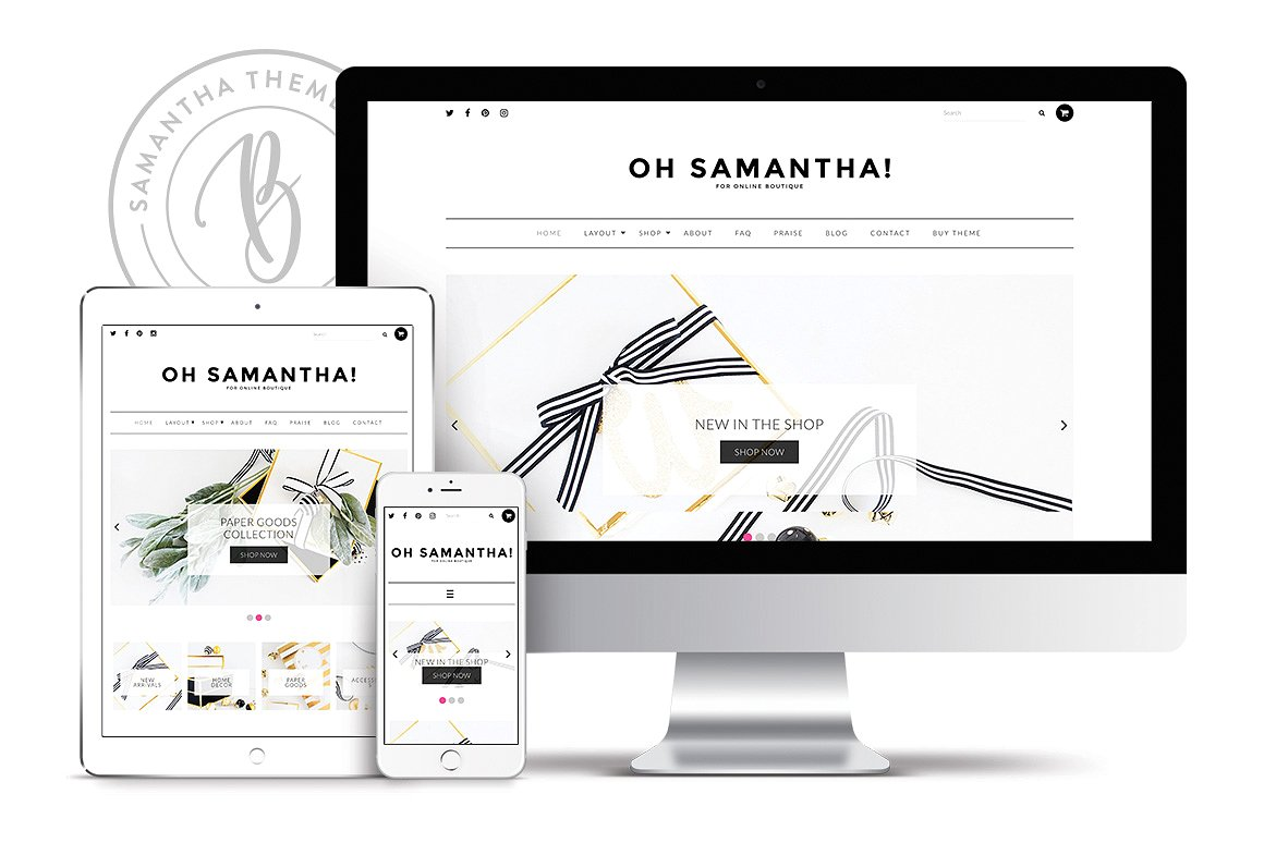 Best WordPress themes for eCommerce, samantha wordpress theme by bluchic themes