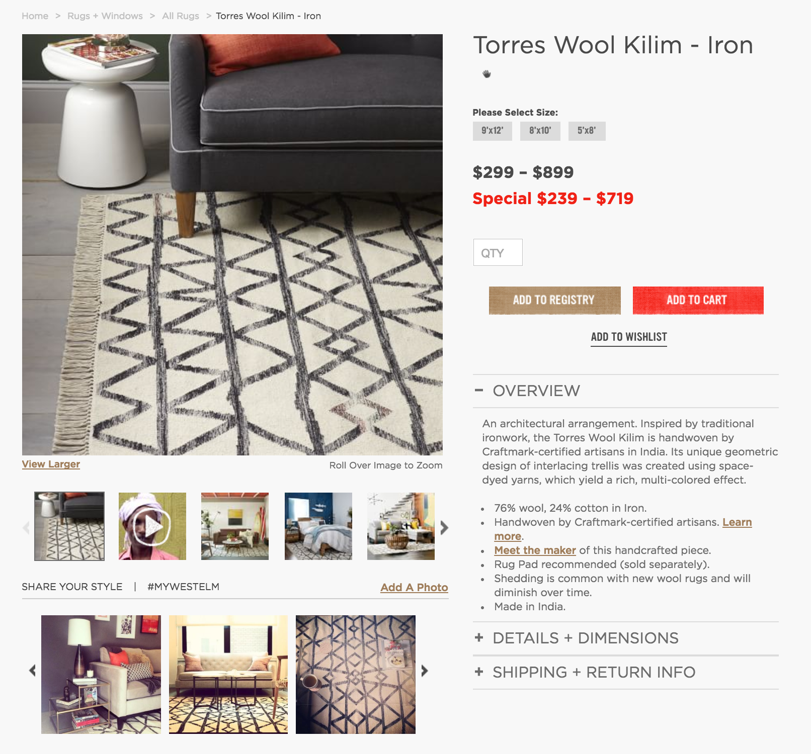 Westelm user-generated content. Instagram marketing